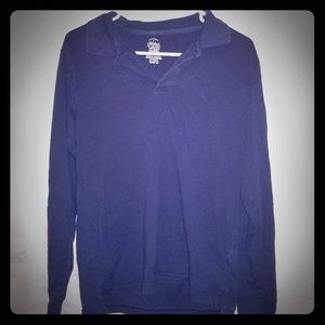 Faded Glory Boys Polo Navy Blue Long Sleeve